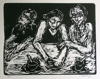 Trio at a Bar Woodcut