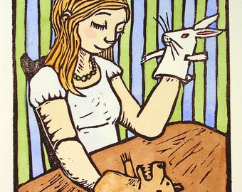Puppet Girl - Linocut with Watercolor