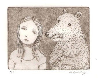 Girl and Bear Etching