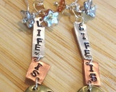 Earrings Life is Good Brass Silver and Copper Czech Flowers in Amber and Silver