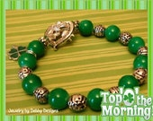 Irish Bracelet Shamrock Charm, Bright Green Beads & Silver Plated Bracelet Top of The Morning To You