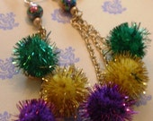 Mardi Gras Earrings Gold Chain, Iridescent Bead Sparkle Balls