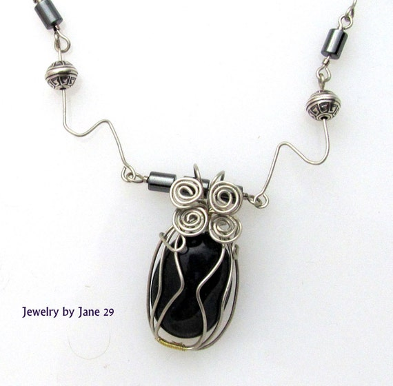Black Fancy Jasper Wirewrapped Pendant on Nickel Silver Wire Necklace