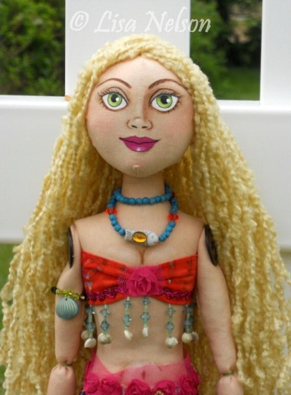 "Original Prim Boho Mermaid Cloth Folk Art Doll ""Believe"" Large 23"""