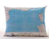 Silk aviator map cushion (Marseille-Mediterranean)