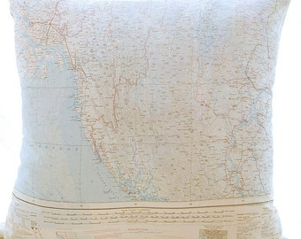 Silk Aviator Map Cushion (Arakan-India)