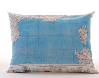 Silk aviator map cushion (Marseille-Mediterranean)