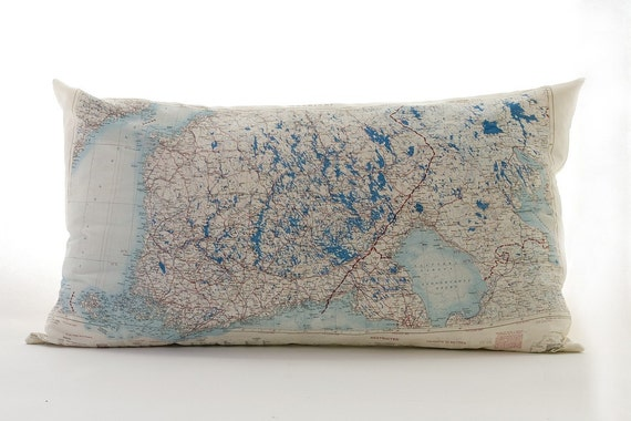 Vintage Silk Aviator Map Cushion (Helsinki)