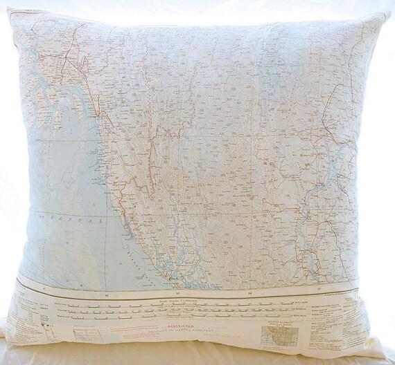 Silk Aviator Map Cushion (Arakan-India)