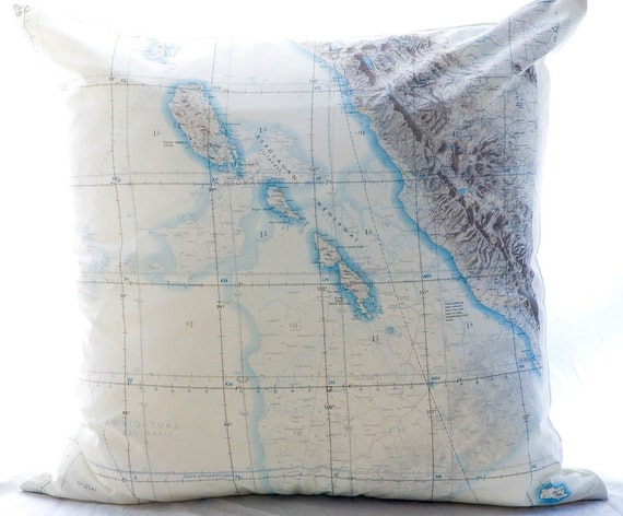 Silk Aviator Map Cushion (Mentawai Islands-Indonesia)