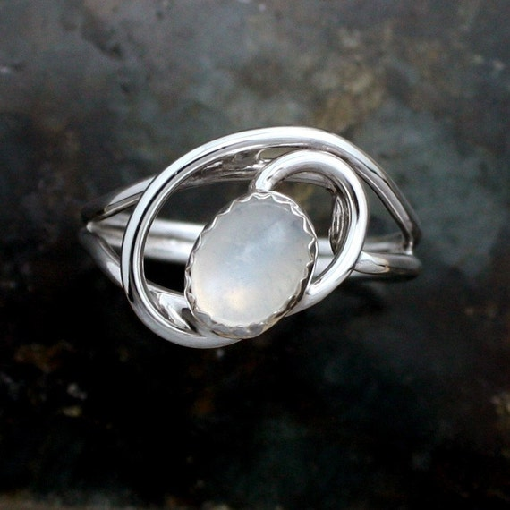Moonstone Ring, Sterling Silver Wire Wrap White Moonstone Gem Stone Ladies Ring -Size 7