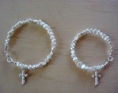 Custom Baby - Toddler - Child Freshwater Pearl Bracelet with Sterling Silver Cross