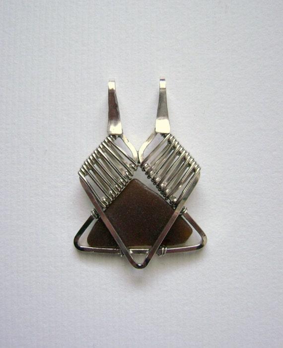 SALE - Sea Glass Jewelry - Sterling Weaved Brown Beach Glass Pendant