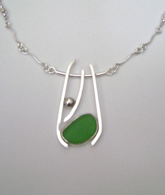 Sea Glass Jewelry - Sterling Green Sea Glass Necklace / Handmade Chain