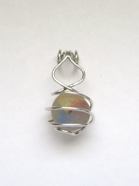 SALE - Sea Glass Jewelry - Sterling Caged Sea Glass Marble Pendant