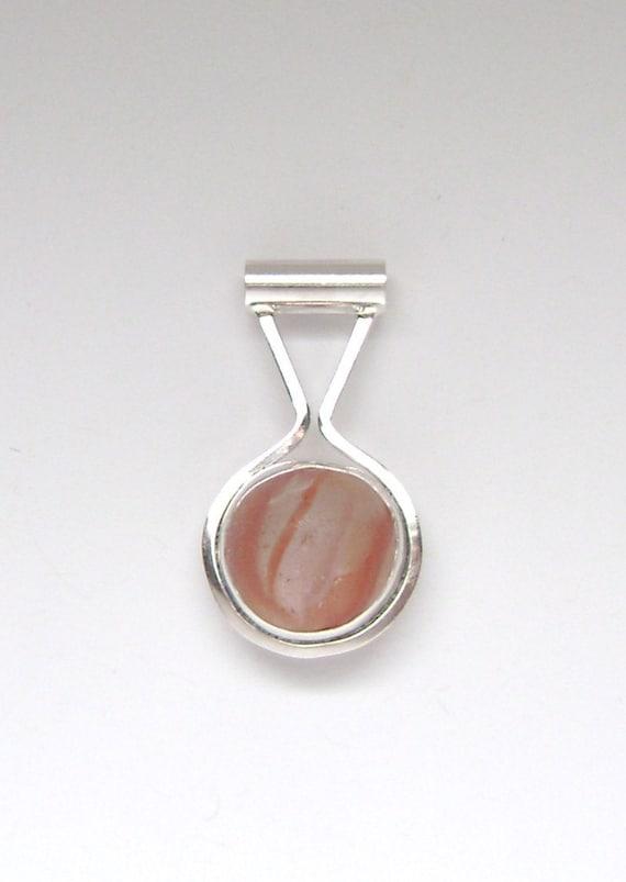 Sea Glass Jewelry - Sterling Half Marble Sea Glass Pendant