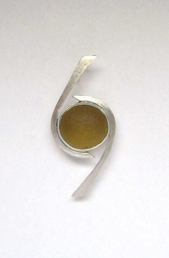 Sea Glass Jewelry - Sterling Golden Amber English Sea Glass Pendant