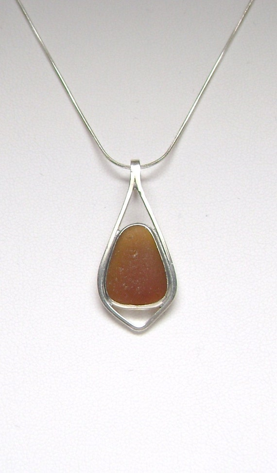 Sea Glass Jewelry - Sterling Brown Sea Glass Necklace