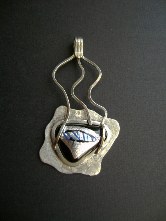 SALE - Sterling Fused Glass pendant
