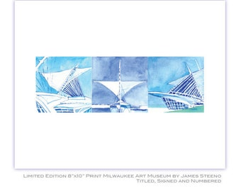 Milwaukee Art Museum (MAM) Calatrava Watercolor Art Print by James Steeno