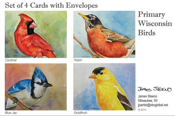 Wisconsin Primary Birds 4-Pack Fine Art Note Card Set