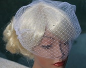 "Bridal  Double Layer  Bandeau Style Birdcage Veil 9""  with Rhinestones Crystals Illusion Tulle and Russian Net for your Wedding"