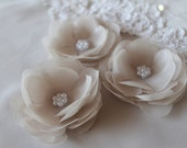 Bridal Ivory Cream Flower Hair Fascinator  Set of Three Clip Comb