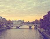 Paris Print, Wanderlust Pastel Paris Seine River Bridge Fine Art Photograph, Paris Photo Travel Decor, Muted Tones - Sunset Across The Seine