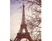 Paris Print, Paris Photography, Eiffel Tower Art, Paris Decor, Tour Eiffel Fine Art Print, Pastel Color Purple Amethyst - La Tour
