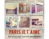 Paris Decor, Paris Prints, Paris Photography Set, Fine Art Paris Vintage Style Travel Photo Decor, Paris Photos - PARIS JE T'Aime Set (5x5)