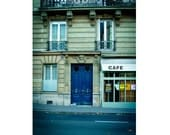 Paris Photography, Paris Home Decor Print, Paris Cafe, Monaco Blue Doors, Paris Decor - Wish You Were Here