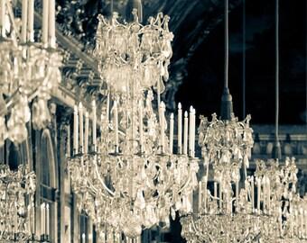 Paris Print, Versailles Photograph, Paris Fine Art Photograph, Paris Decor, Hall of Mirrors, Versailles Chandeliers - Galerie des Glaces