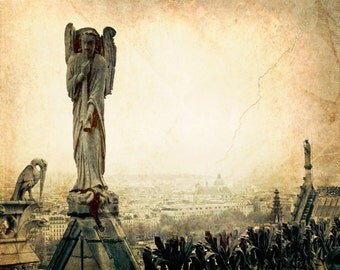Notre Dame Sepia Paris Fine Art Photography decor, Old World Gothic Cathedral Rooftop - Notre Dame de Paris
