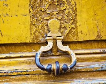 Paris Door Knocker Art, Travel Photography, Mustard Yellow Paris Decor French Fine Art Print Gift, Wanderlust Decor, Wall Art Home Decor