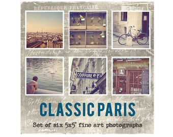 Paris Photo Set, Fine Art Prints, Paris Photography Decor, Eiffel Tower, Luxembourg Gardens, Paris Decor - CLASSIC PARIS Set (5x5)