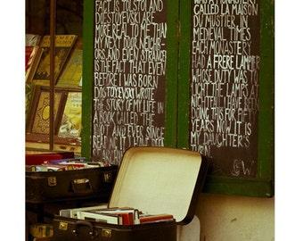 Paris Photography, Paris Decor, Paris Bookstore Literary Decor, Paris Print, Vintage Books Chalkboard Decor - In Good Company