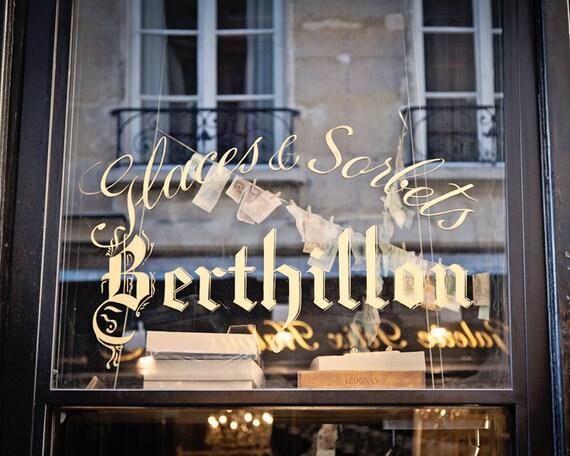 Paris Print, Paris Photography, Black and Gold, Paris Decor, Fine Art Travel Photograph, French Window, Wall Art Decor - Glaces and Sorbets