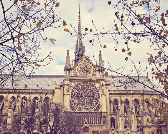 Notre Dame Cathedral Photograph, Paris Photography, Paris Print, Autumn leaves, Paris Decor - Notre Dame de Paris
