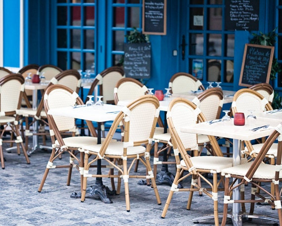 France Photograph, Cafe Chairs, Blue and White Kitchen Decor, Travel Photography - Blue Cafe
