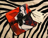 Set of 4 original art reproduction handmade Bettie Page drink coasters--RED