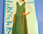 Butterick 1990 See and Sew Drop Waist Jumper and Top Pattern  2508