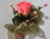 Silk Rose Corsage with Faux Dew Drops