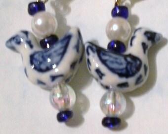 Blue and White Porcelain Bird Earrings