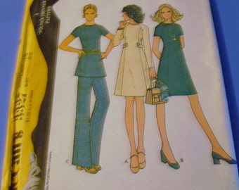 Vintage 1972 Misses Dress Tunic and Pants Pattern  3327