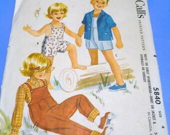 McCall's 1961 Childrens Sportsware Pattern 5840