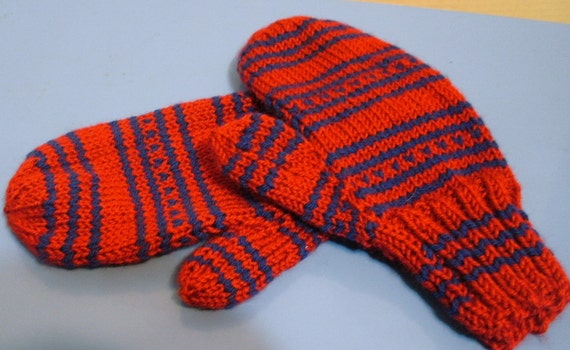 Adult Red and Blue Stripped Mittens