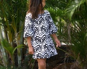 Girls A Line Dress Black White Damask Peasant Tunic Dress 6mos to 5/6