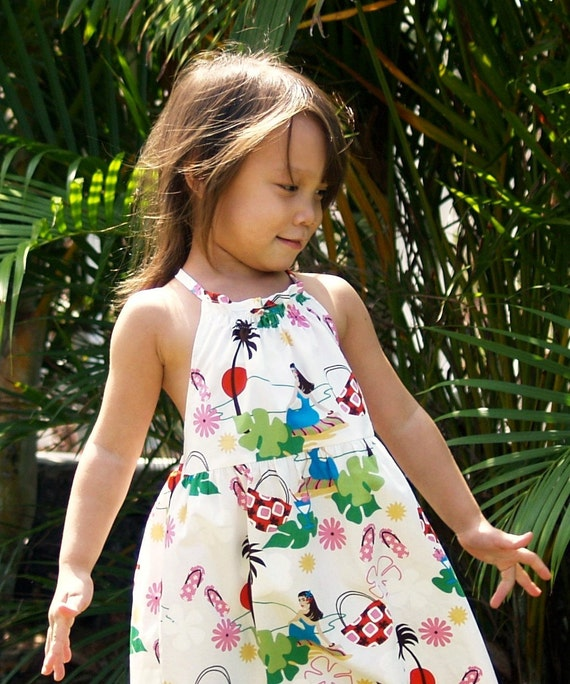 Girls Hawaiian Dress Halter White Hula Girl 6mos To 10