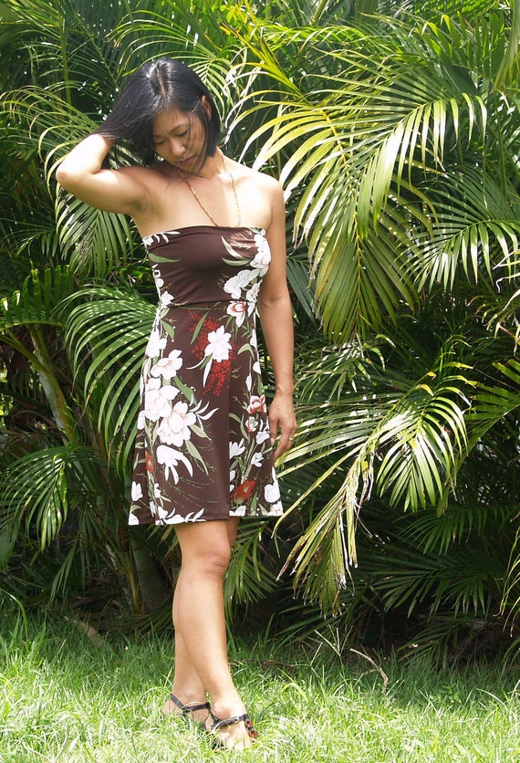 Tropical Chocolate Floral Strapless Dress Top or Skirt