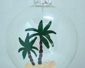 Palm Tree Christmas Ornament Glass Ball Handpainted